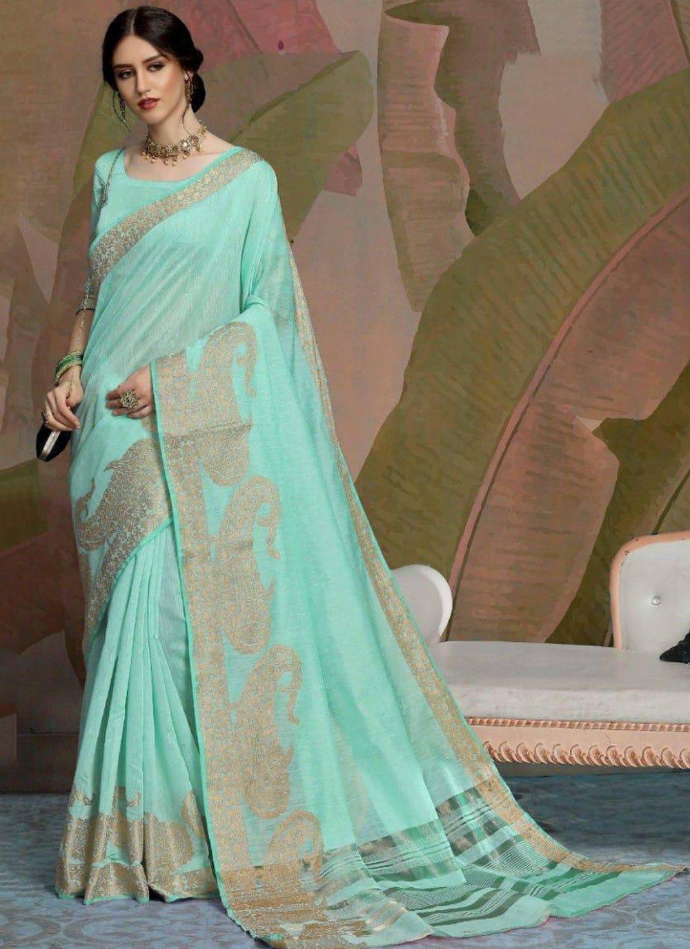 Blue Woven Linen Trendy Saree