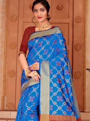 Blue Woven Silk Trendy Saree