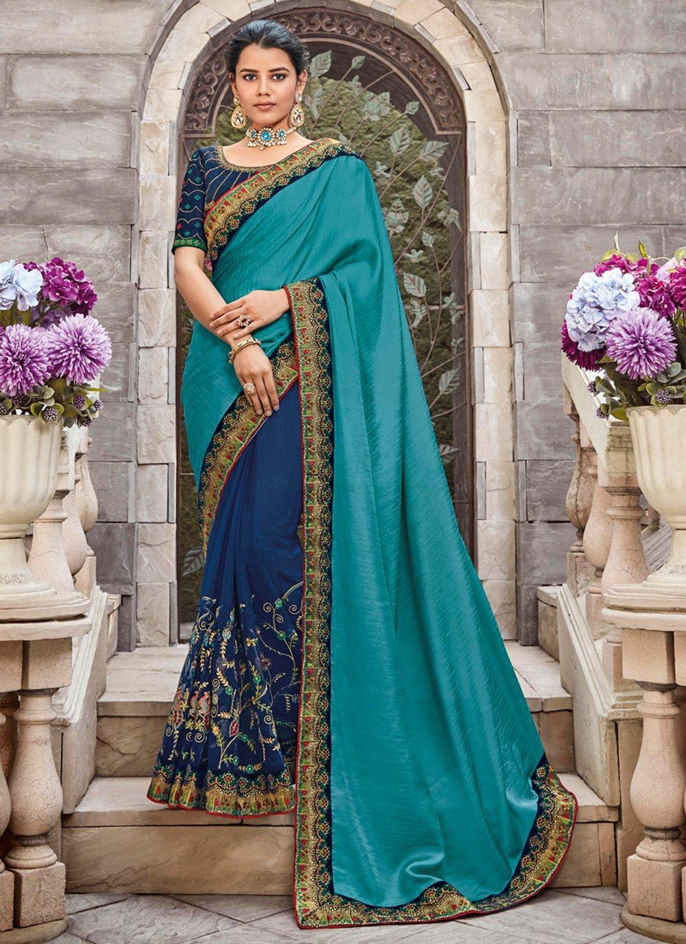 Blue Zari Designer Saree