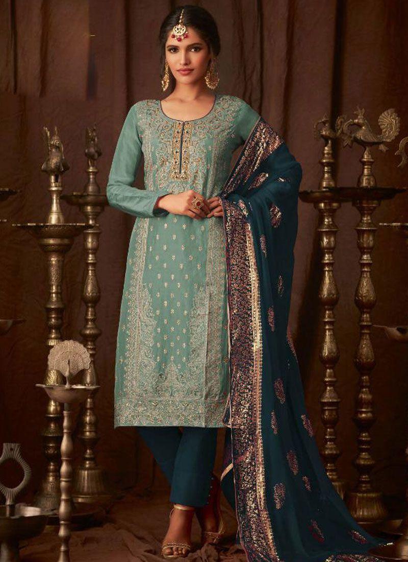 Blue Zari Georgette Pant Style Suit
