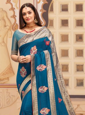Blue Zari Party Classic Saree