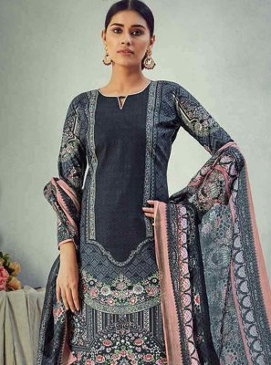 Bollywood Salwar Kameez Digital Print Cotton in Blue
