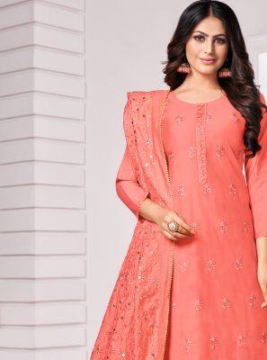 Bollywood Salwar Kameez Embroidered Cotton in Peach