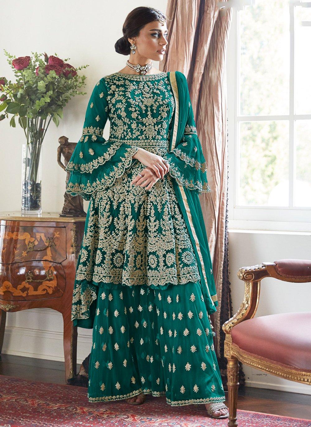 Bollywood Salwar Kameez Embroidered Net in Blue