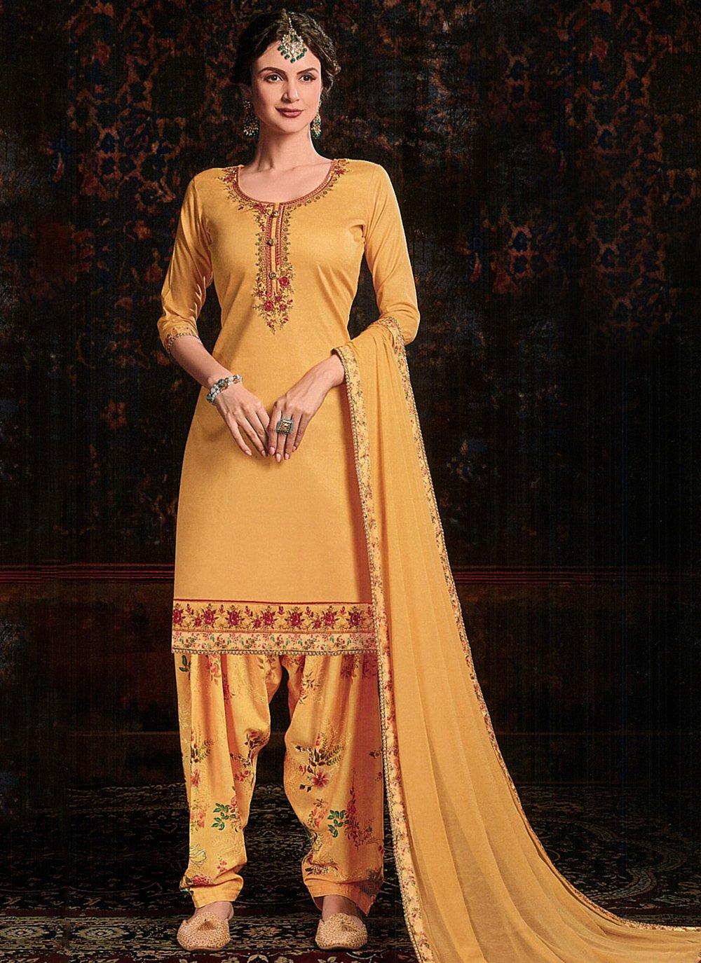 Bollywood Salwar Kameez Resham Cotton Satin in Mustard