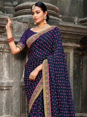 Bollywood Saree Border Georgette in Blue