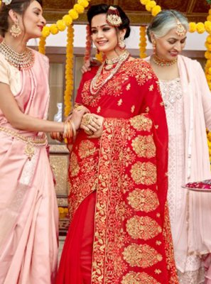 Bollywood Saree Embroidered Georgette in Red