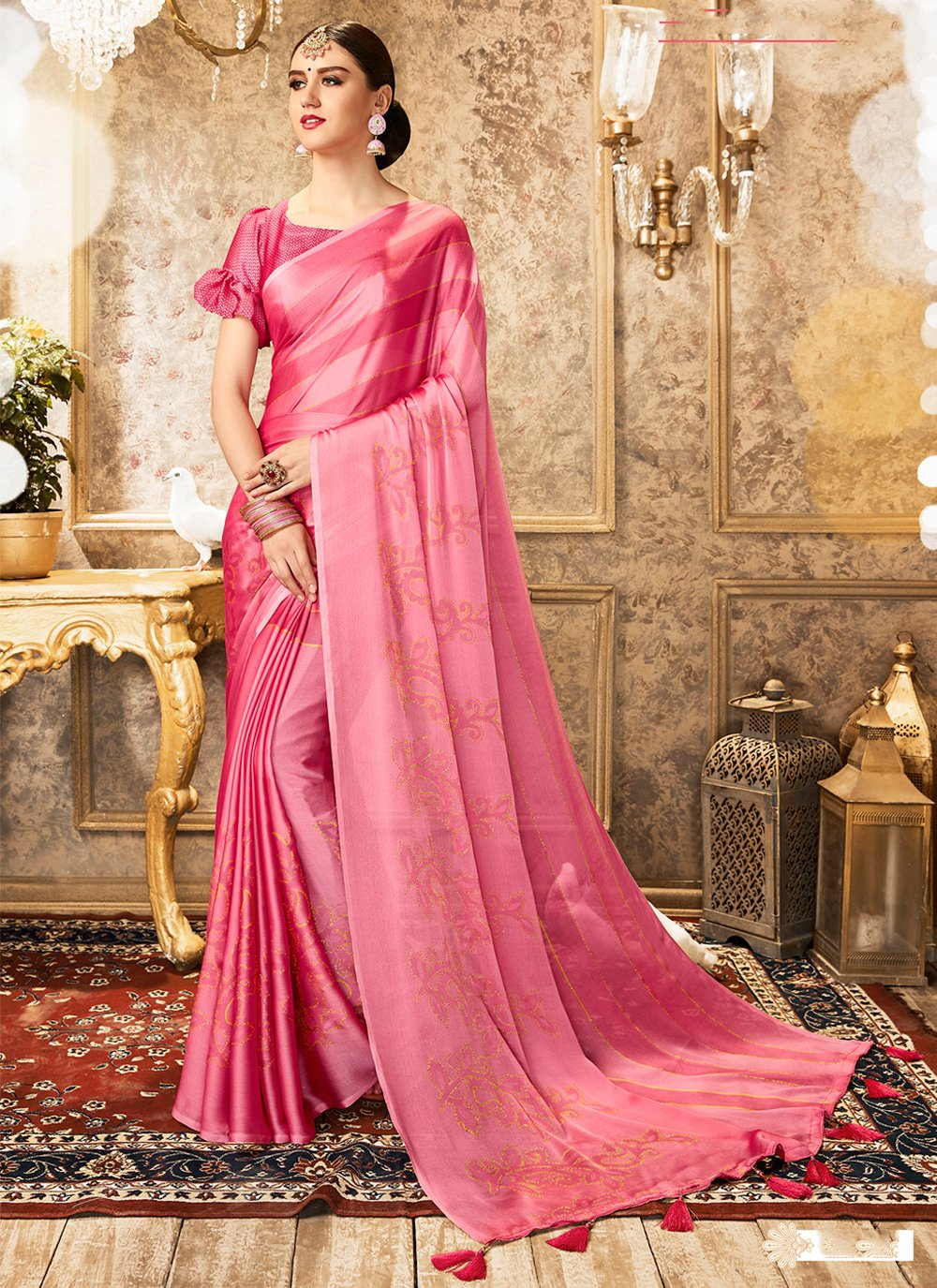 Bollywood Saree Foil print Faux Chiffon in Pink
