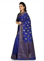 Bollywood Saree Weaving Banarasi Silk in Blue