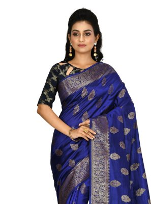 Bollywood Saree Weaving Banarasi Silk in Blue