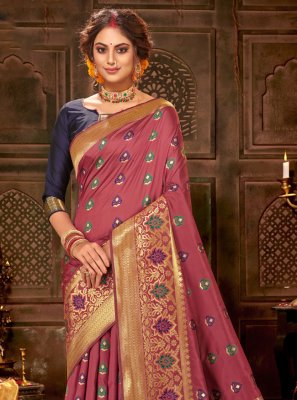 Bollywood Saree Weaving Banarasi Silk in Maroon