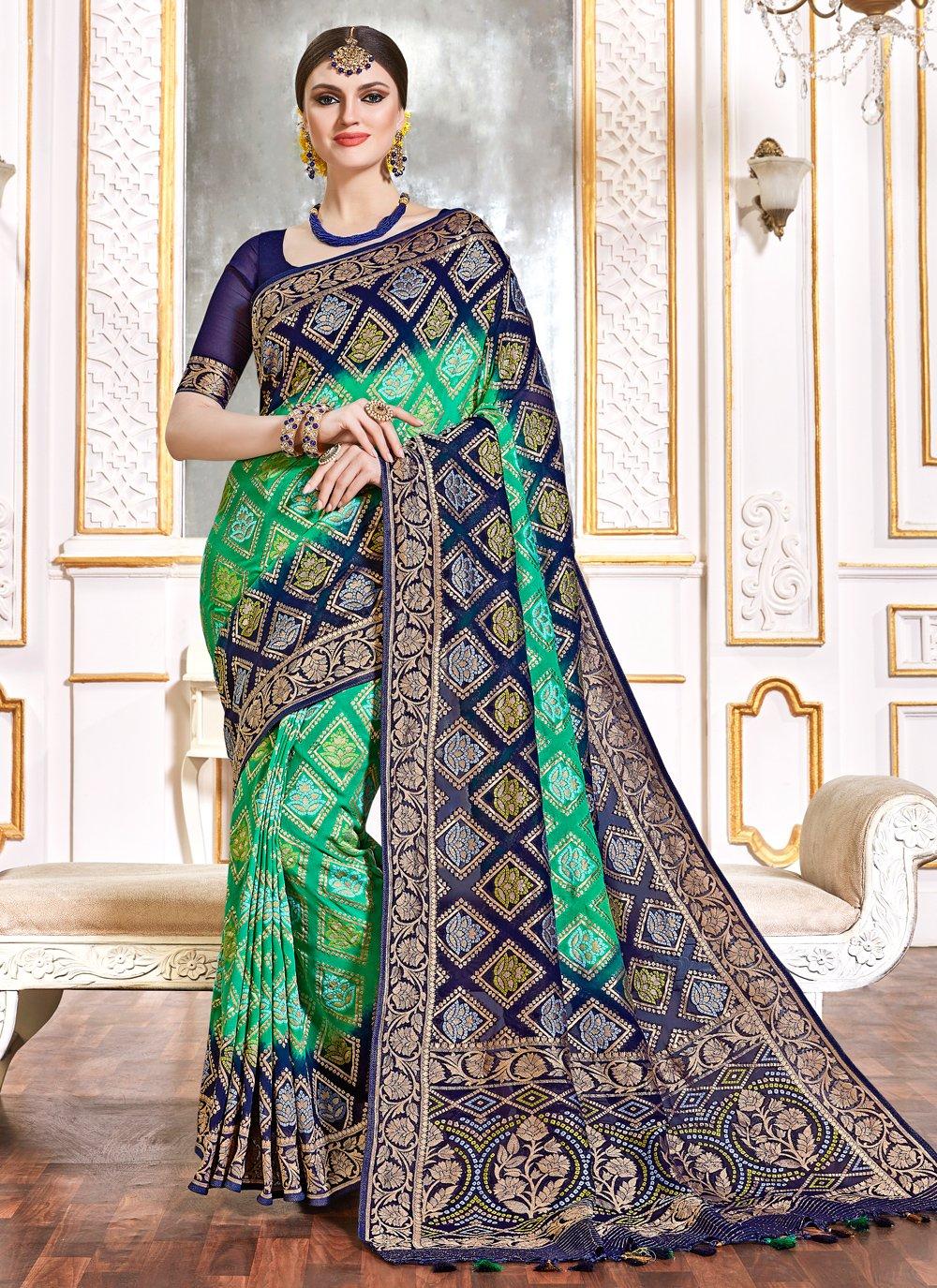 Bollywood Saree Weaving Viscose in Blue and Green