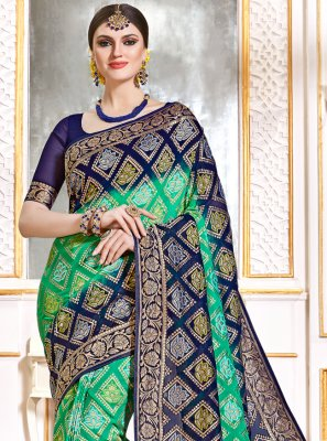 Bollywood Saree Weaving Viscose in Blue and Green