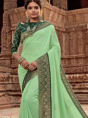 Border Art Silk Designer Traditional Saree in Green