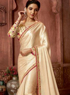 Border Art Silk Trendy Saree in Cream