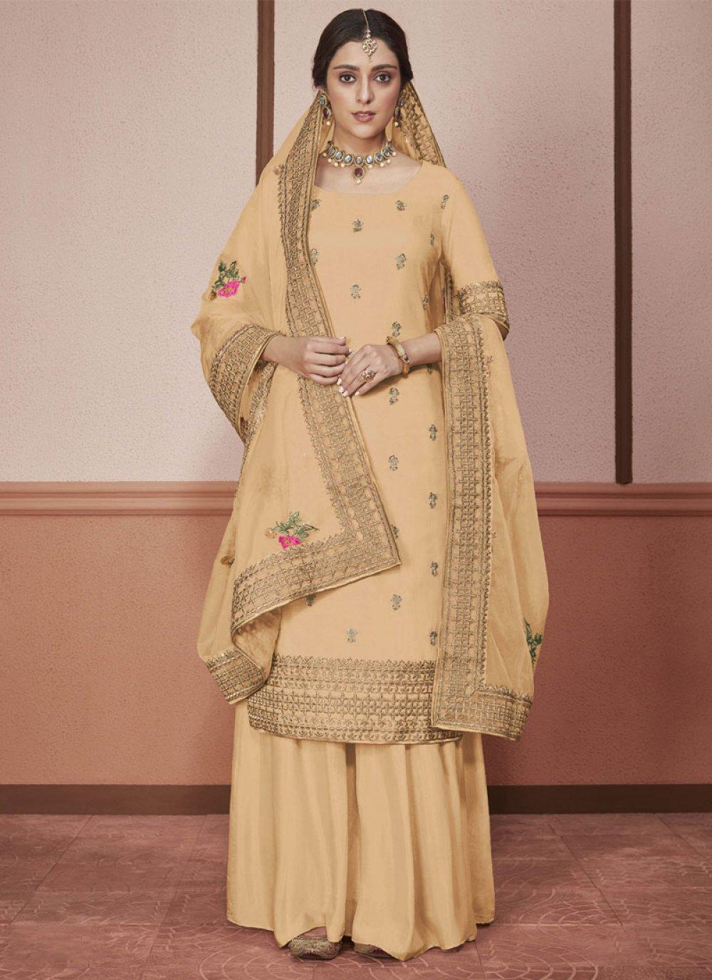 Border Cream Silk Straight Salwar Kameez