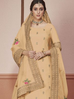 Border Cream Silk Straight Salwar Kameez