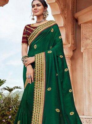 Border Faux Georgette Designer Saree in Green