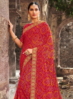 Border Georgette Classic Designer Saree in Multi Colour