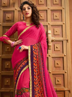 Border Georgette Rani Designer Saree