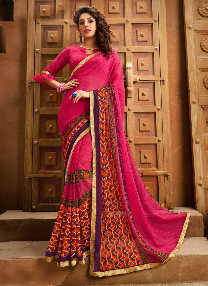 Border Georgette Rani Designer Saree