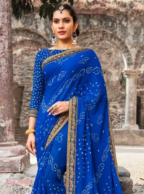Border Georgette Traditional Saree in Blue