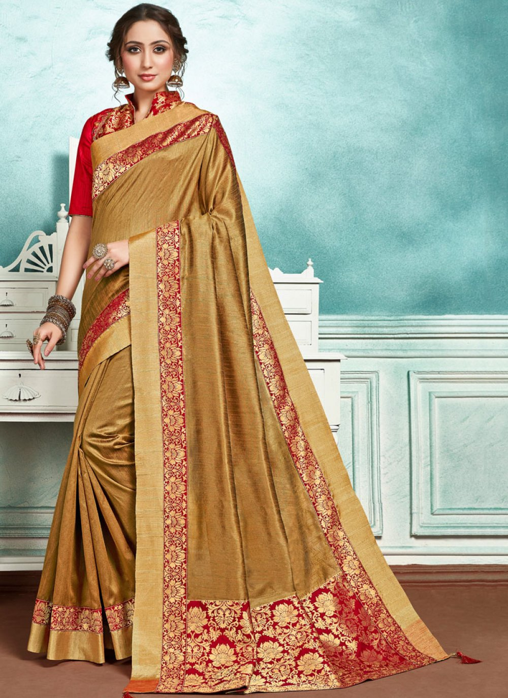 Border Jute Silk Designer Saree in Brown