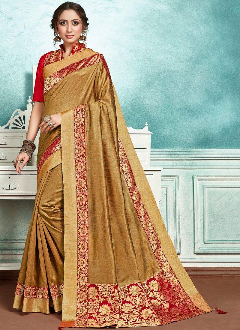 Border Jute Silk Designer Saree in Brown