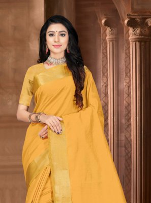 Border Silk Designer Saree in Mustard