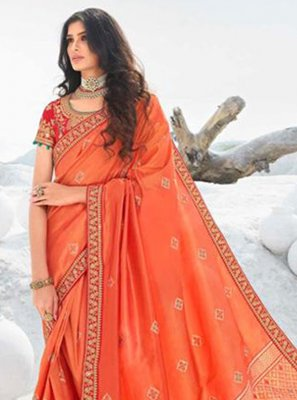 Border Silk Orange Classic Designer Saree