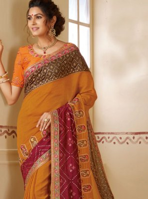 Border Silk Silk Saree in Multi Colour