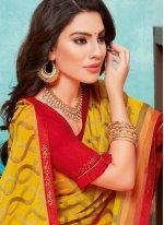 Border Yellow Faux Chiffon Bollywood Saree