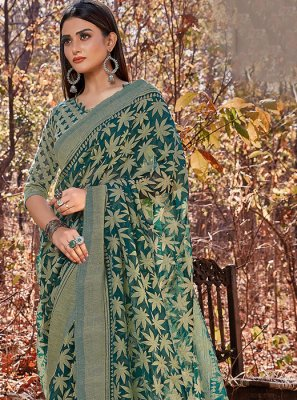 Brasso Green Printed Casual Saree