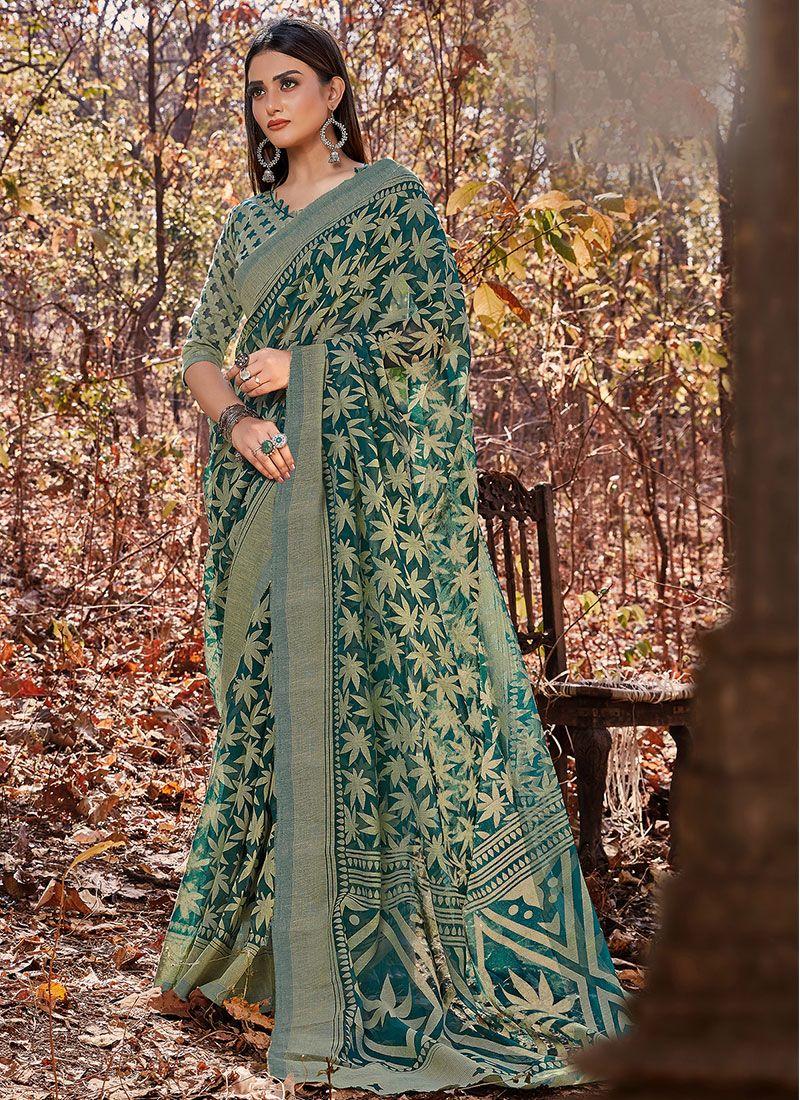 Brasso Green Printed Casual Saree