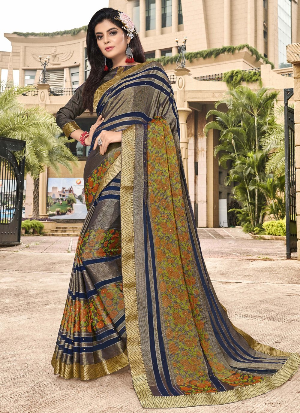 Brasso Multi Colour Floral Print Trendy Saree