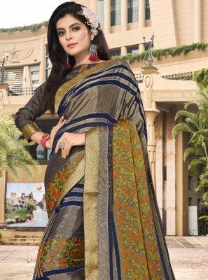 Brasso Multi Colour Floral Print Trendy Saree