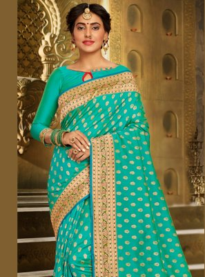 Brocade Aqua Blue Contemporary Saree