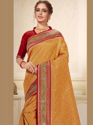 Brocade Embroidered Gold Trendy Saree