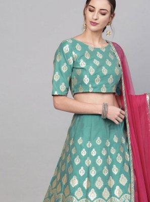 Brocade Gold and Green Embroidered Readymade Lehenga Choli
