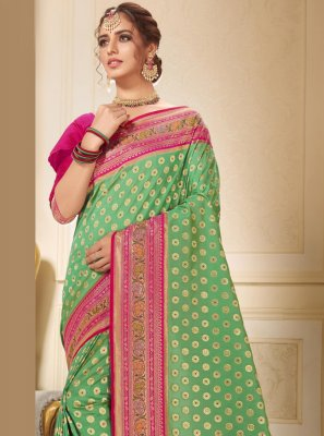 Brocade Green Contemporary Saree