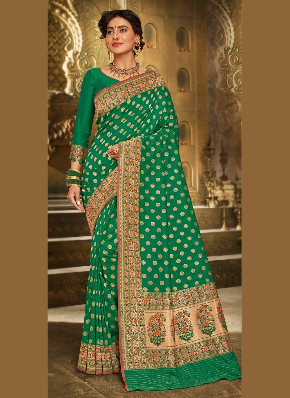 Brocade Green Embroidered Trendy Saree
