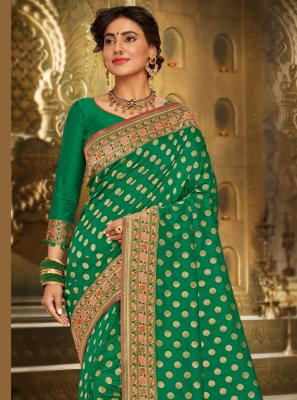 Brocade Green Embroidered Trendy Saree