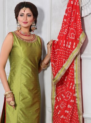 Brocade Green Salwar Suit