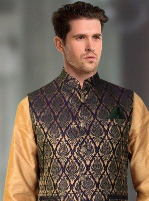 Brocade Multi Colour Machine Embroidery  Nehru Jackets