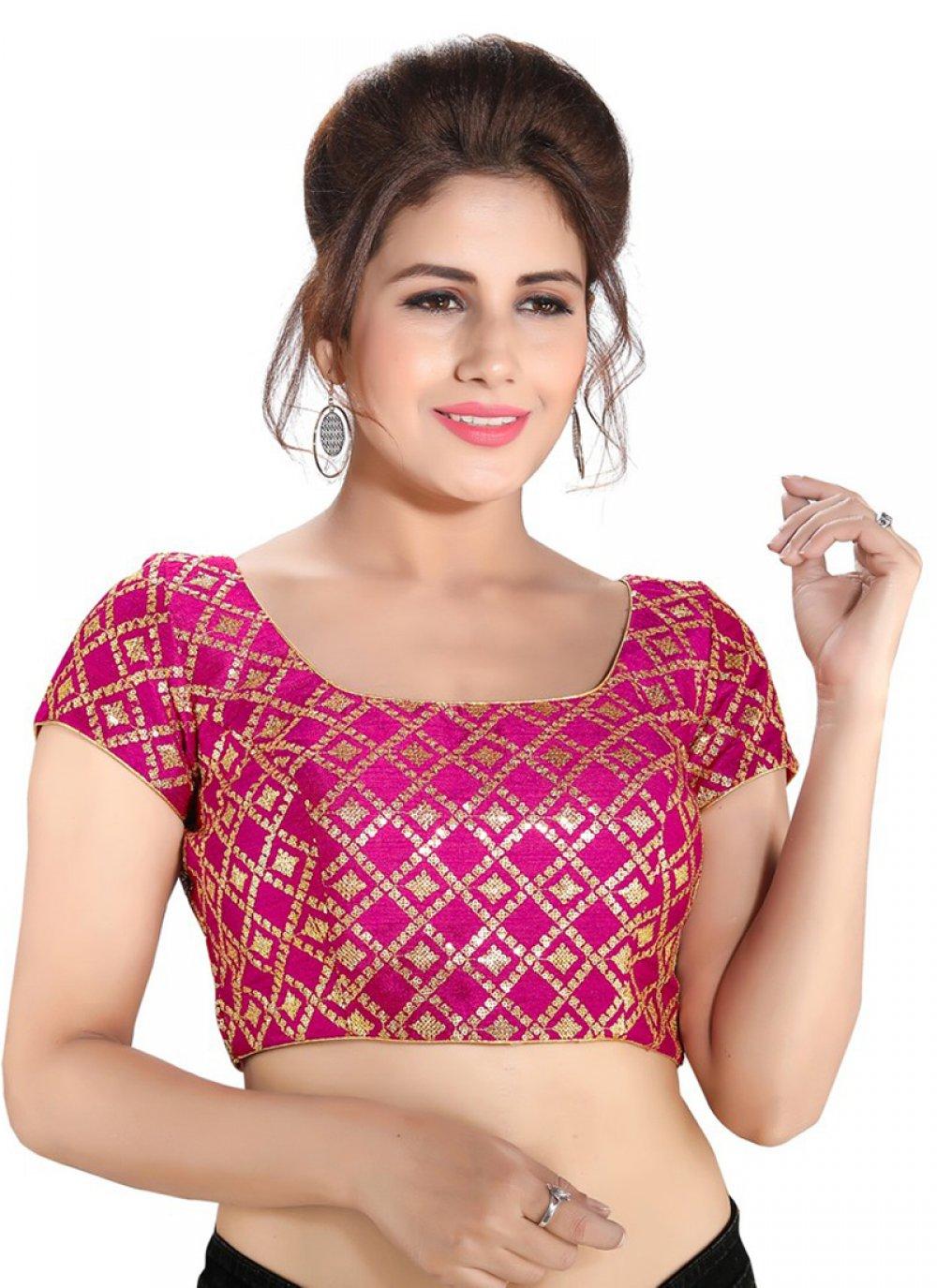 Brocade Pink Printed Designer Blouse