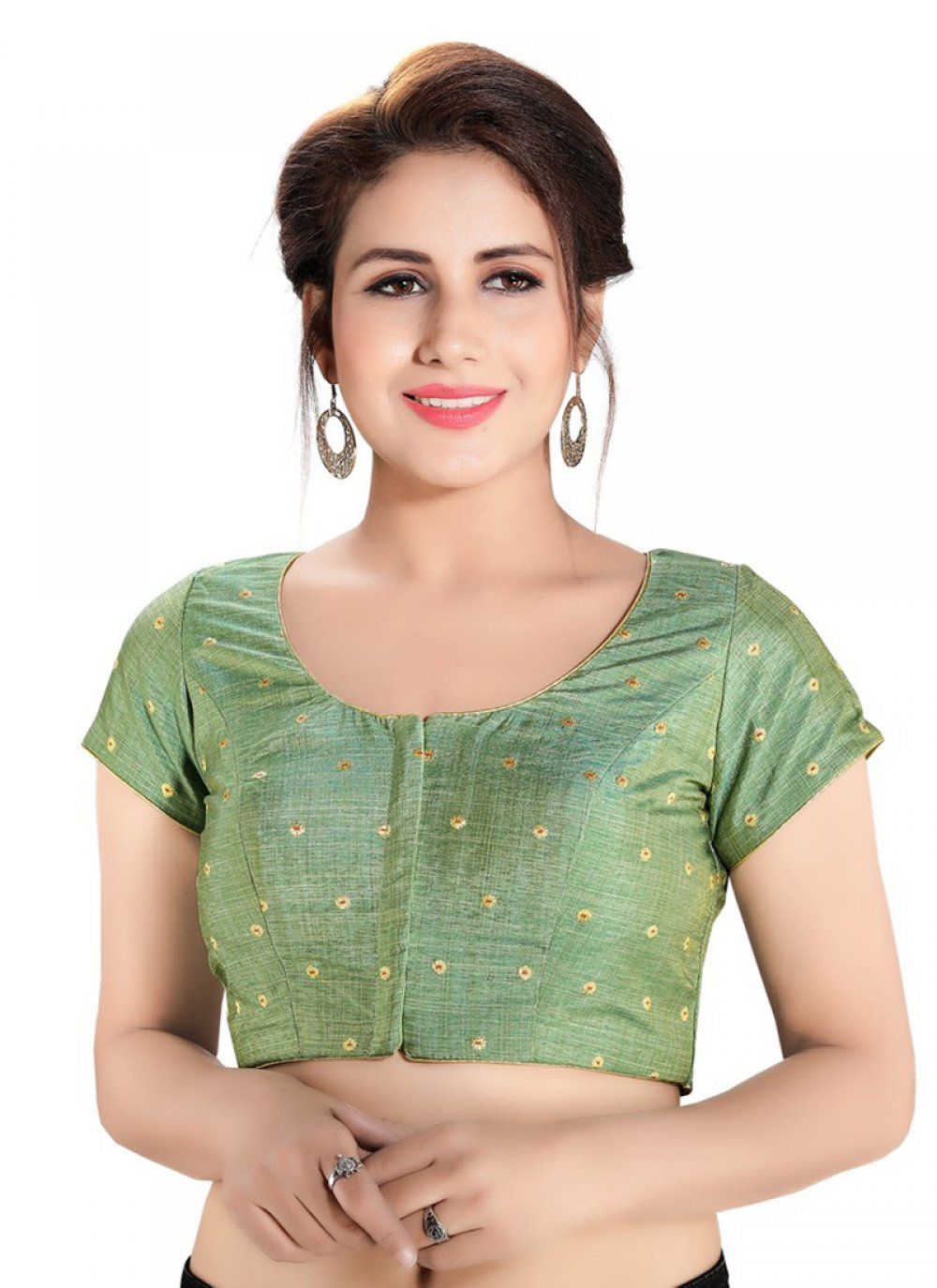 Brocade Printed Designer Blouse in Green