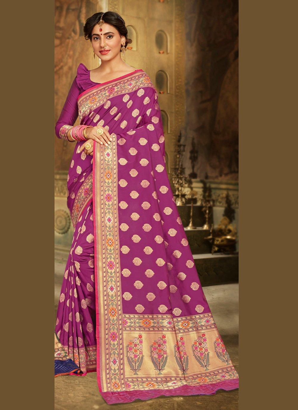 Brocade Purple Bollywood Saree