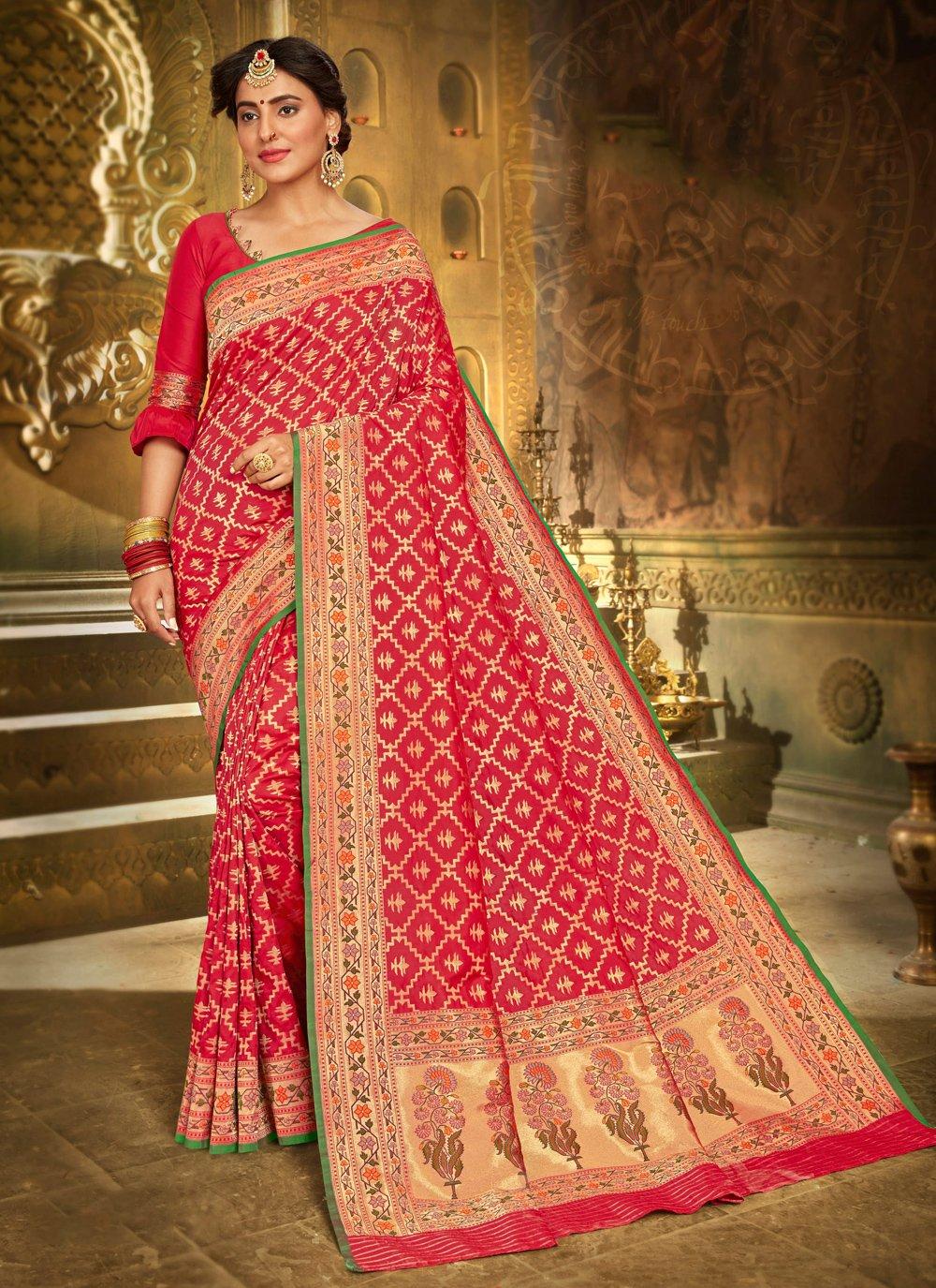 Brocade Red Bollywood Saree