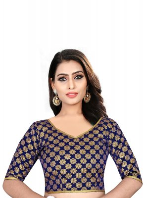 Brocade Weaving Designer Blouse in Blue