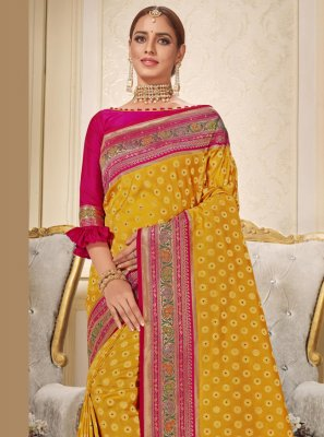 Brocade Yellow Embroidered Trendy Saree